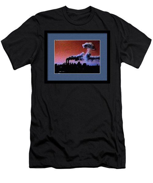 Men's T-Shirt (Slim Fit) featuring the digital art Flight 175 Mushroom Cloud Framed Example by James Kosior