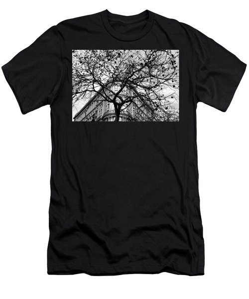 Flood Building - San Francisco - Corner Tree View Black And White Men's T-Shirt (Athletic Fit)