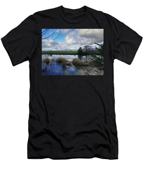Men's T-Shirt (Slim Fit) featuring the photograph Flooding River, Field And Clouds by Chriss Pagani