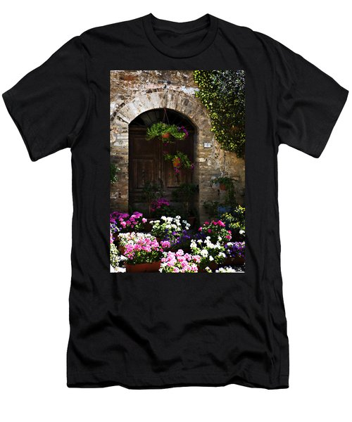 Floral Adorned Doorway Men's T-Shirt (Athletic Fit)