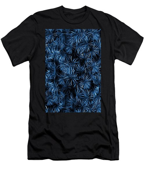 Floral Blue Abstract Men's T-Shirt (Slim Fit) by David Dehner