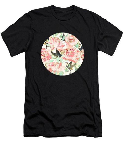 Floral Cranes Men's T-Shirt (Athletic Fit)