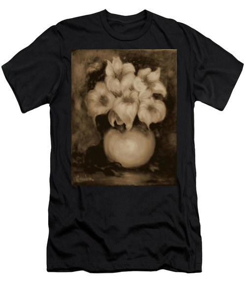 Floral Puffs In Brown Men's T-Shirt (Athletic Fit)