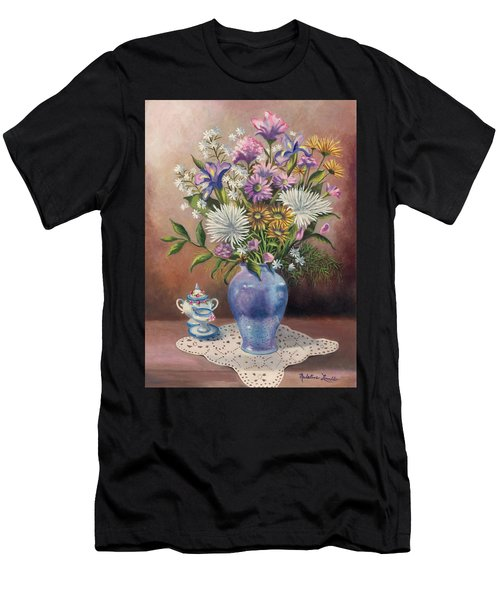 Floral With Blue Vase With Capadamonte Men's T-Shirt (Athletic Fit)
