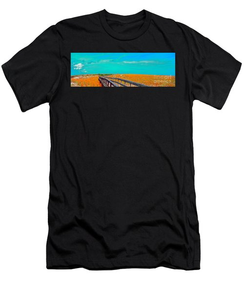 Men's T-Shirt (Athletic Fit) featuring the photograph Florida Sand Dunes Atlantic New Smyrna Beach by Tom Jelen