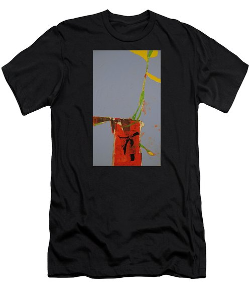 Men's T-Shirt (Athletic Fit) featuring the painting Flower In Pitcher- Abstract Of Course by Cliff Spohn