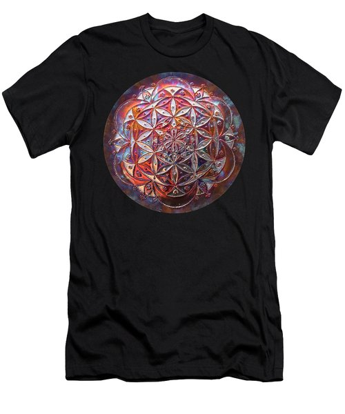 Men's T-Shirt (Athletic Fit) featuring the sculpture Flower Of Life Copper Lightmandala by Robert Thalmeier