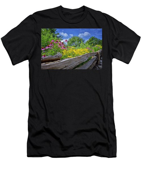 Flowers Along A Wooden Fence Men's T-Shirt (Athletic Fit)