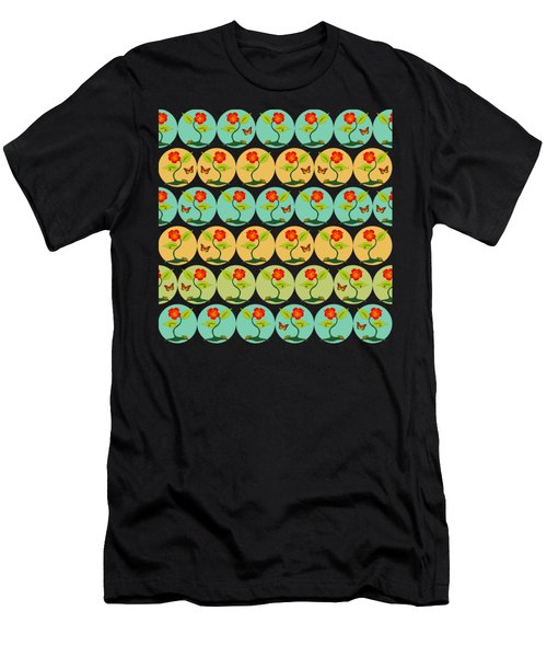 Flowers And Bubbles Pattern Men's T-Shirt (Athletic Fit)