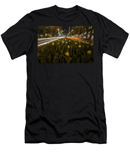 Flowers At Night On Chicago's Mag Mile Men's T-Shirt (Athletic Fit)
