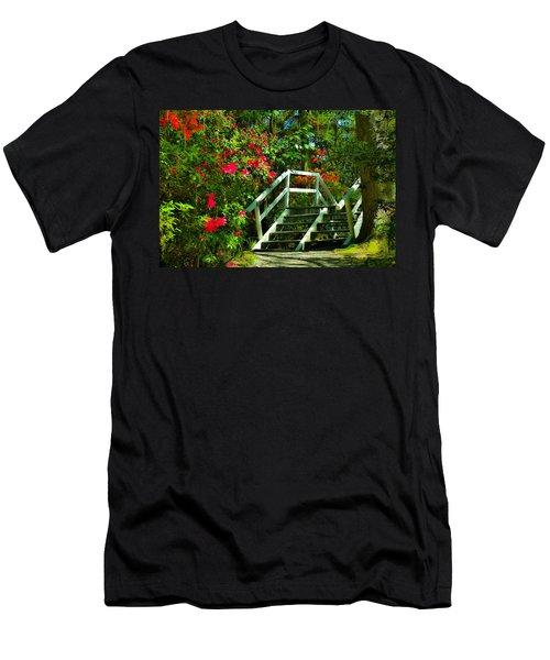 Flowers Bloom Alongside Magnolia Plantation Bridge - Charleston Sc Men's T-Shirt (Athletic Fit)