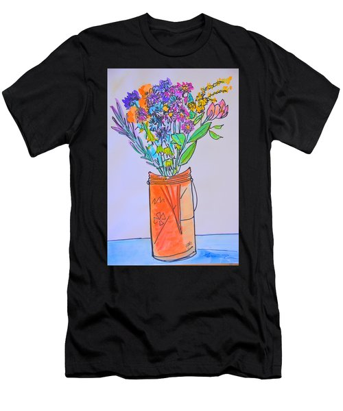 Flowers In An Orange Mason Jar Men's T-Shirt (Athletic Fit)