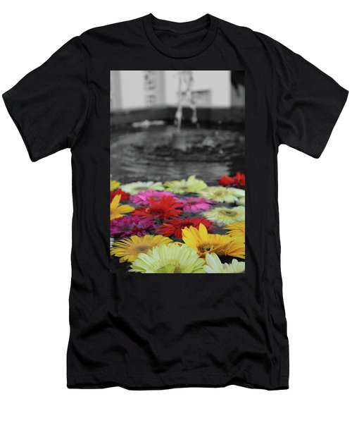 Flowers In Fountain Men's T-Shirt (Athletic Fit)