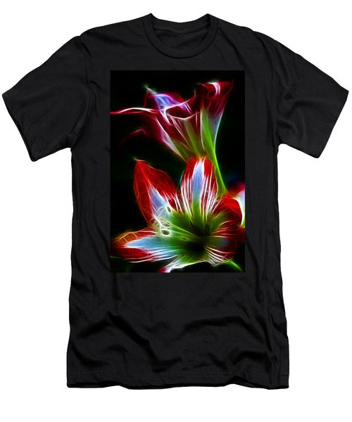 Flowers In Green And Red Men's T-Shirt (Athletic Fit)