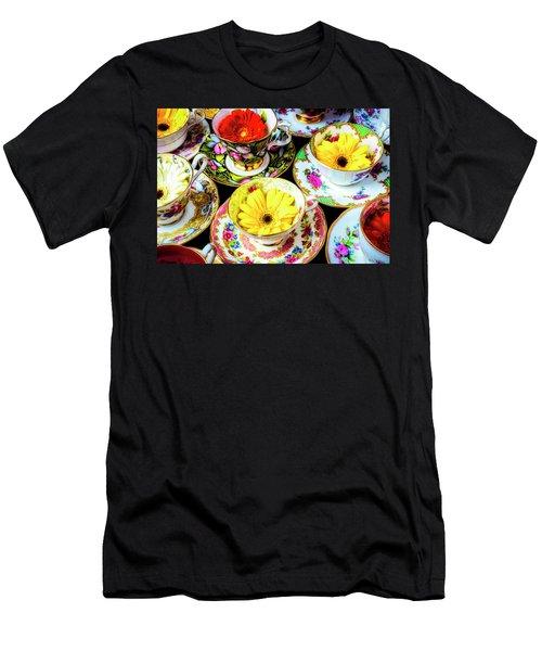 Flowers In Tea Cups Men's T-Shirt (Athletic Fit)