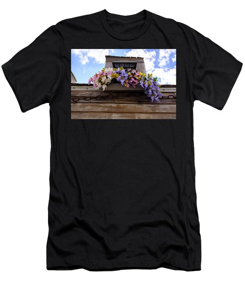 Flowers On A Rooftop Balcony In Saint Augustine Florida Men's T-Shirt (Athletic Fit)