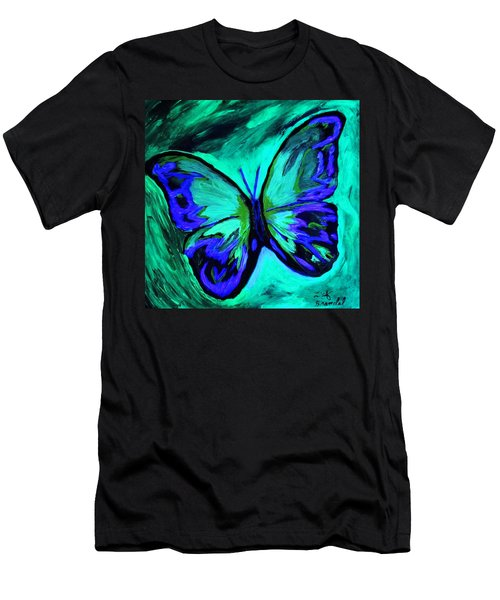 Men's T-Shirt (Slim Fit) featuring the painting Flutterby Brings The Light Through Dark by Lisa Brandel