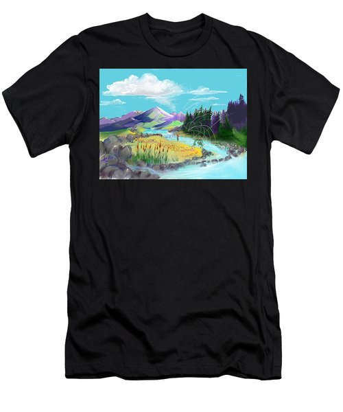 Fly Fishing With Aa Wooly Worm. Men's T-Shirt (Athletic Fit)