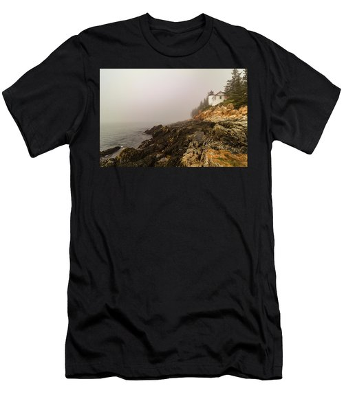Men's T-Shirt (Athletic Fit) featuring the photograph Fog At Bass Harbor Lighthouse by Jeff Folger