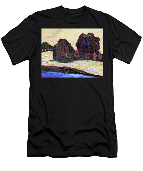 Men's T-Shirt (Athletic Fit) featuring the painting Sayreville Foggy Morning by Vadim Levin