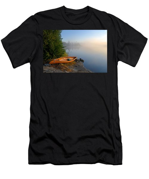 Foggy Morning On Spice Lake Men's T-Shirt (Slim Fit) by Larry Ricker