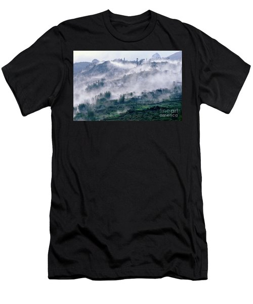Men's T-Shirt (Athletic Fit) featuring the photograph Foggy Mountain Of Sa Pa In Vietnam by Silva Wischeropp