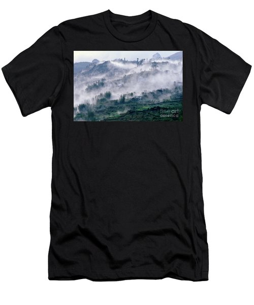 Foggy Mountain Of Sa Pa In Vietnam Men's T-Shirt (Athletic Fit)