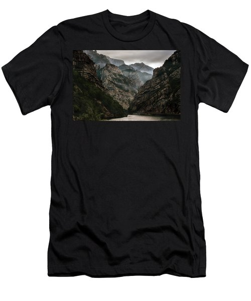 Men's T-Shirt (Athletic Fit) featuring the photograph Foggy Mountains Over Neretva Gorge by Jaroslaw Blaminsky
