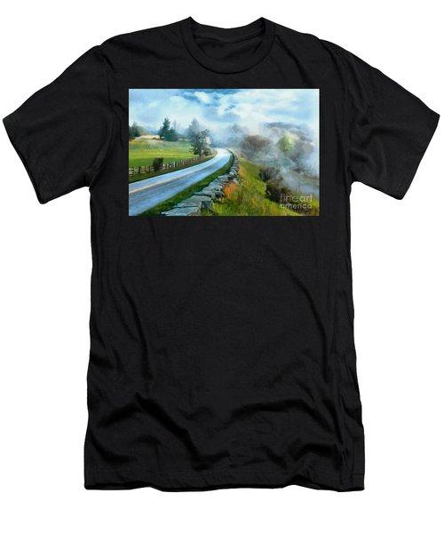 Foggy Spring Morning In Doughton Blue Ridge Parkway Ap Men's T-Shirt (Athletic Fit)