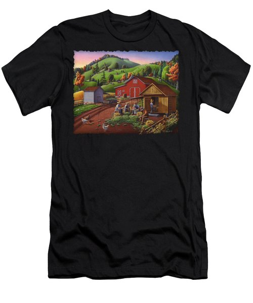 Folk Art Americana - Farmers Shucking Harvesting Corn Farm Landscape - Autumn Rural Country Harvest  Men's T-Shirt (Athletic Fit)