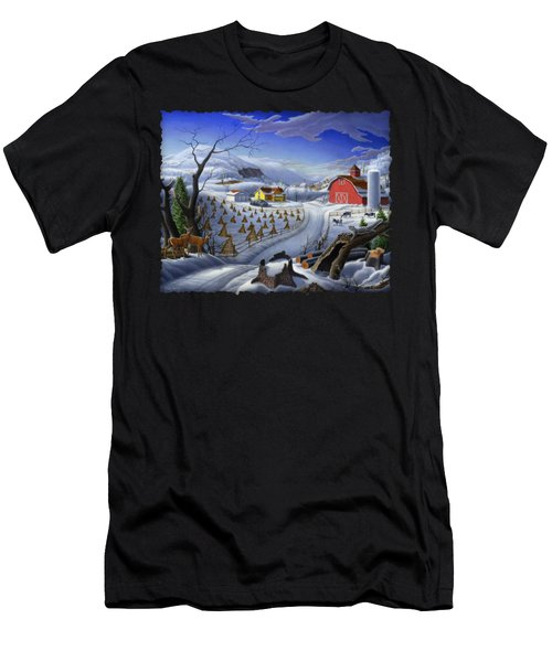 Folk Art Winter Landscape Men's T-Shirt (Athletic Fit)