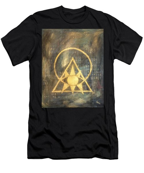 Men's T-Shirt (Athletic Fit) featuring the painting Follow The Light - Illuminati And Binary by Marianna Mills