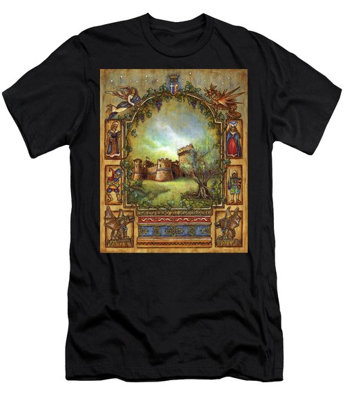 Men's T-Shirt (Athletic Fit) featuring the painting For The Love Of Castles by Retta Stephenson