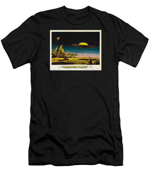 Forbidden Planet In Cinemascope Retro Classic Movie Poster Detailing Flying Saucer Men's T-Shirt (Athletic Fit)