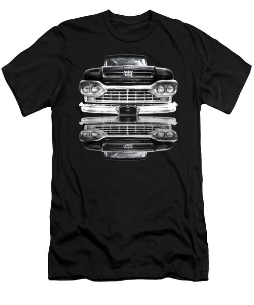 Ford F100 Truck Reflection On Black Men's T-Shirt (Athletic Fit)