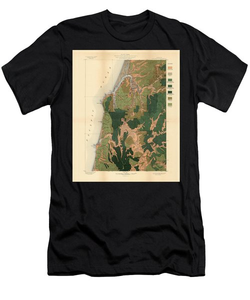 Forest Cover Map 1886-87 - Coos Bay Quadrangle - Oregon - Geological Map Men's T-Shirt (Athletic Fit)
