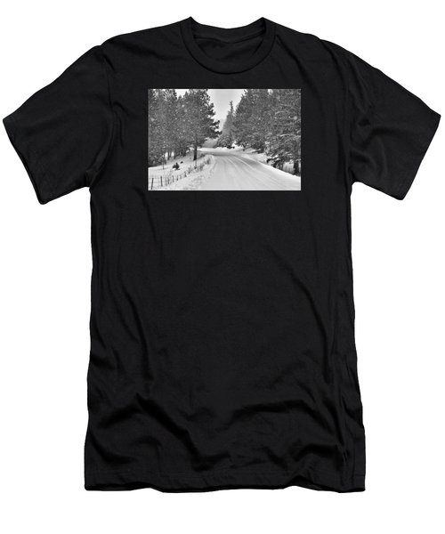 Forest Road In The Snow Men's T-Shirt (Athletic Fit)
