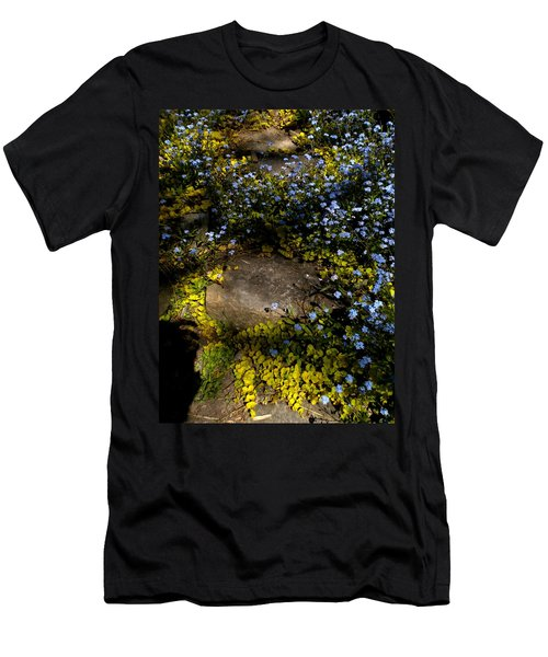 Men's T-Shirt (Slim Fit) featuring the painting Forget-me-nots 1 by Renate Nadi Wesley