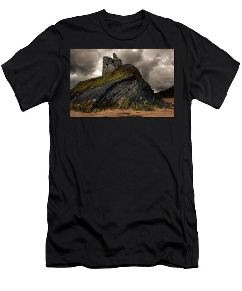 Men's T-Shirt (Athletic Fit) featuring the photograph Forgotten Castle In Ballybunion by Jaroslaw Blaminsky