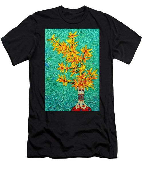 Forsythia Vibration Modern Impressionist Flower Art Palette Knife Oil Painting By Ana Maria Edulescu Men's T-Shirt (Athletic Fit)
