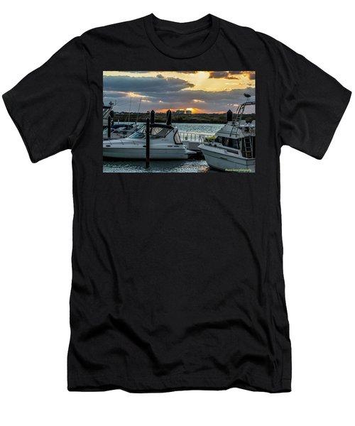 Fort Pierce Marina Men's T-Shirt (Slim Fit) by Nance Larson
