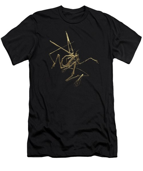 Fossil Record - Gold Pterodactyl Fossil On Black Canvas #1 Men's T-Shirt (Athletic Fit)