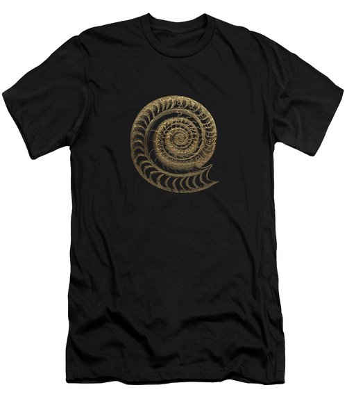 Fossil Record - Golden Ammonite Fossil On Square Black Canvas # Men's T-Shirt (Athletic Fit)
