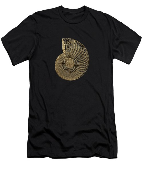 Fossil Record - Golden Ammonite Fossil On Square Black Canvas #1 Men's T-Shirt (Athletic Fit)
