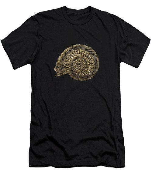Fossil Record - Golden Ammonite Fossil On Square Black Canvas #2 Men's T-Shirt (Athletic Fit)