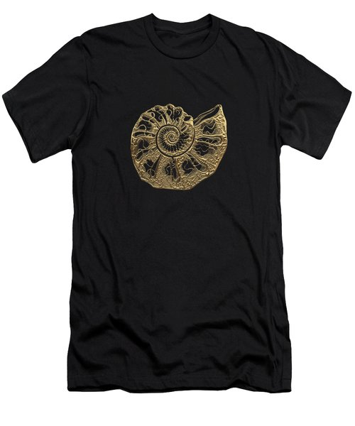 Fossil Record - Golden Ammonite Fossil On Square Black Canvas #4 Men's T-Shirt (Athletic Fit)