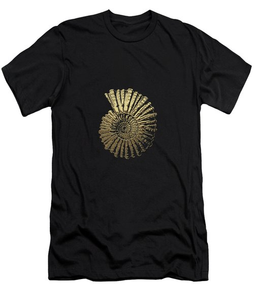 Fossil Record - Golden Ammonite On Black  Men's T-Shirt (Athletic Fit)