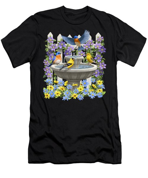 Fountain Festivities - Birds And Birdbath Painting Men's T-Shirt (Athletic Fit)