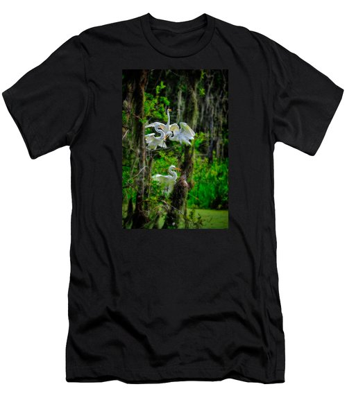 Four Egrets In Tree Men's T-Shirt (Athletic Fit)