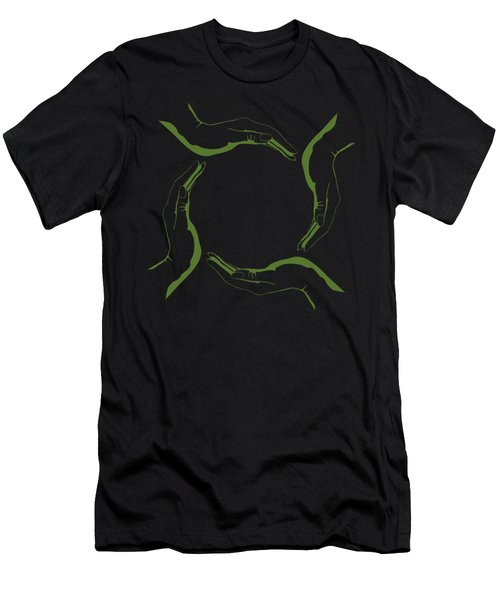 Four People Hands Making Circle Conceptual Round Green Eco Symbo Men's T-Shirt (Athletic Fit)